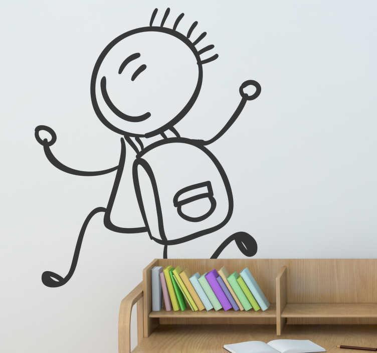 TenStickers. Adesivo bambini a scuola con allegria. Sticker decorativo monocolore che raffigura un giovanotto stilizzato, con lo zaino in spalla, mentre si dirige allegramente a scuola.
