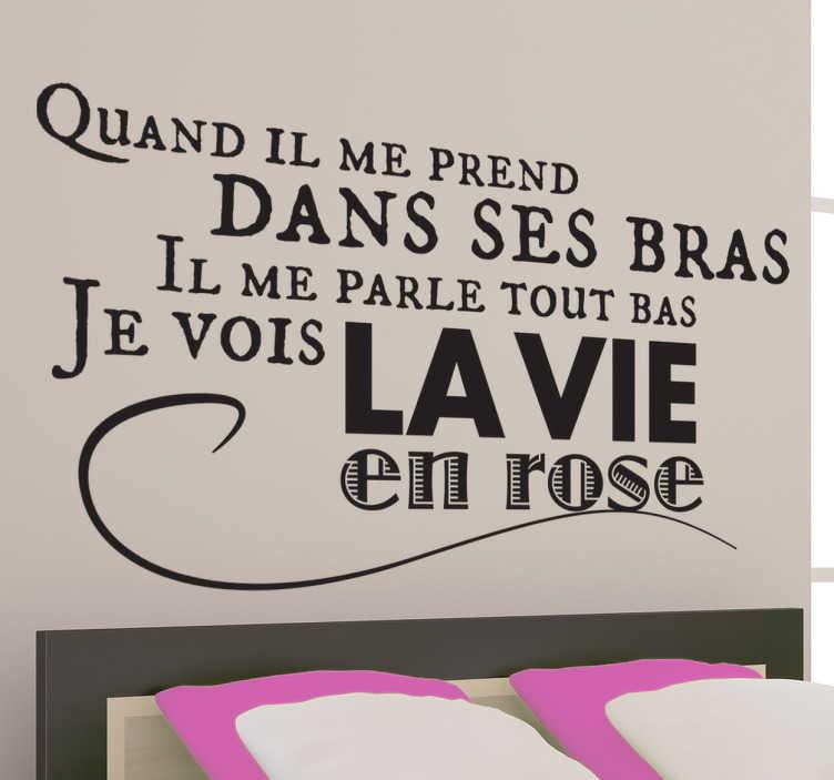 """TenStickers. Stencil muro Edith Piaf. Alcuni celebri versi dell'indimenticabile""""La vie en rose"""",per un adesivo murale che renderà felici tutti gli amanti della chanson."""