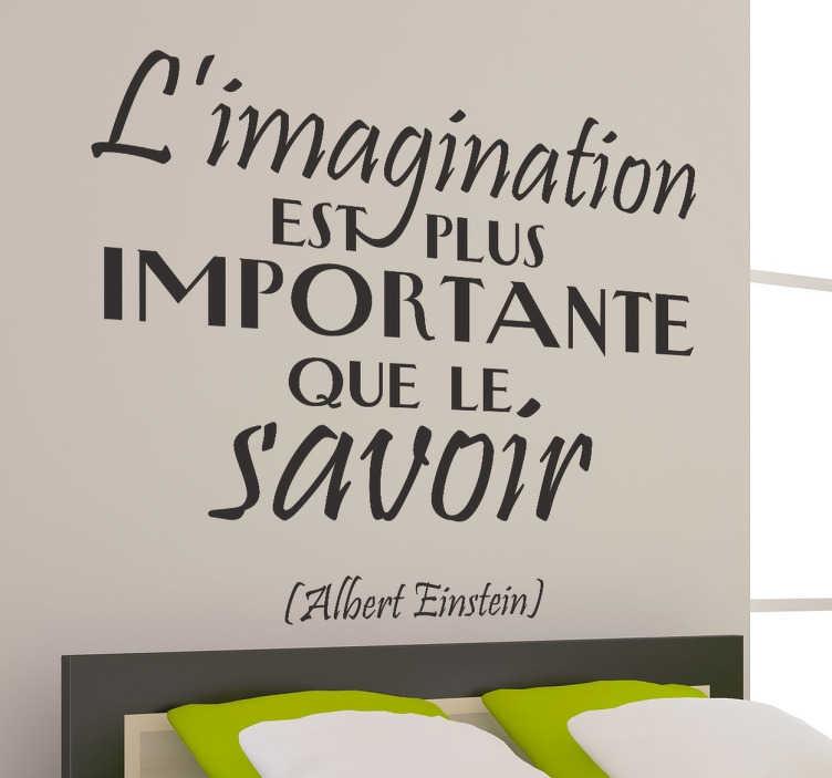 TenStickers. Sticker imagination Einstein. Décorez les murs de votre intérieur avec ce stickers  et laissez vous emporter par les paroles du célèbre savant Einstein.Une jolie idée pour une décoration d'intérieure originale.