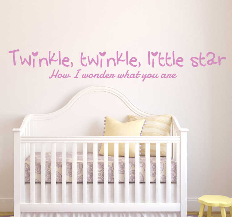 TenStickers. Sticker kinderen little star. Een leuke muursticker voor de decoratie van de kinderkamer! Een prachtige decoratie sticker met de Engelse tekst: Twinkle, twinkle, little star.