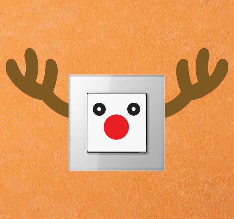 TenStickers. 루돌프 사슴 조명 스위치 스티커. 크리스마스 벽 스티커 - 빨간 호랑이 순록 장식용 루돌프로 조명 스위치를 장식하십시오. 우리의 우스운 벽 스티커 수집에서 차가운 디자인.