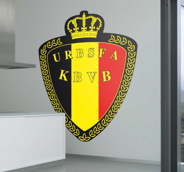 TenVinilo. Adhesivo federación belga fútbol. Pegatina con el emblema característico del equipo nacional de Bélgica.