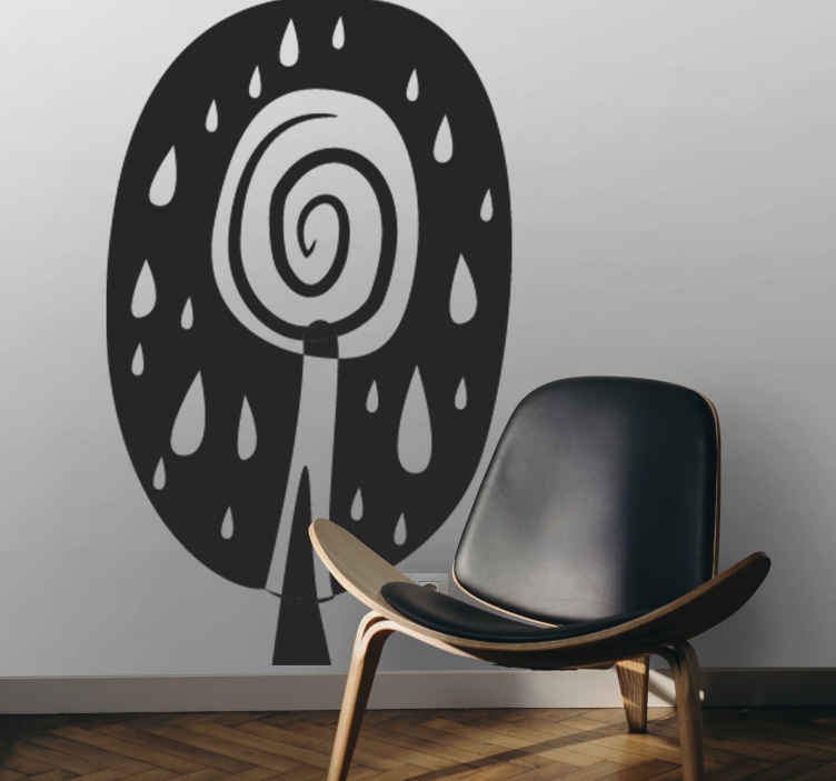 TenStickers. Sticker decorativo albero africano. Adesivo murale con l'immagine astratta di un alberello della savana. Ideale per decorare in modo alternativo il soggiorno o la camera da letto.