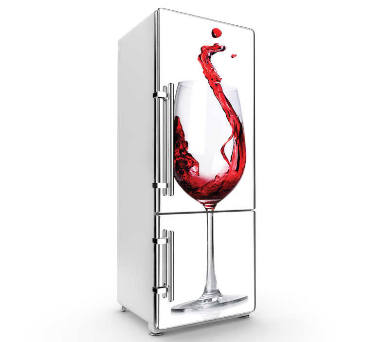 TenStickers. Glass of Wine Fridge Sticker. Kitchen Stickers - Simple fridge sticker ideal for wine lovers. Stunning design of a wine glass with red wine being poured in with a white background. Elegant and quirky decal to add some character to your kitchen or cooking area.