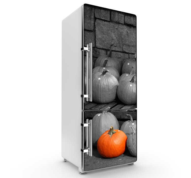 TenStickers. Photography Pumpkins Fridge Sticker. Fridge Stickers - Personalise your fridge with this original photography feature.