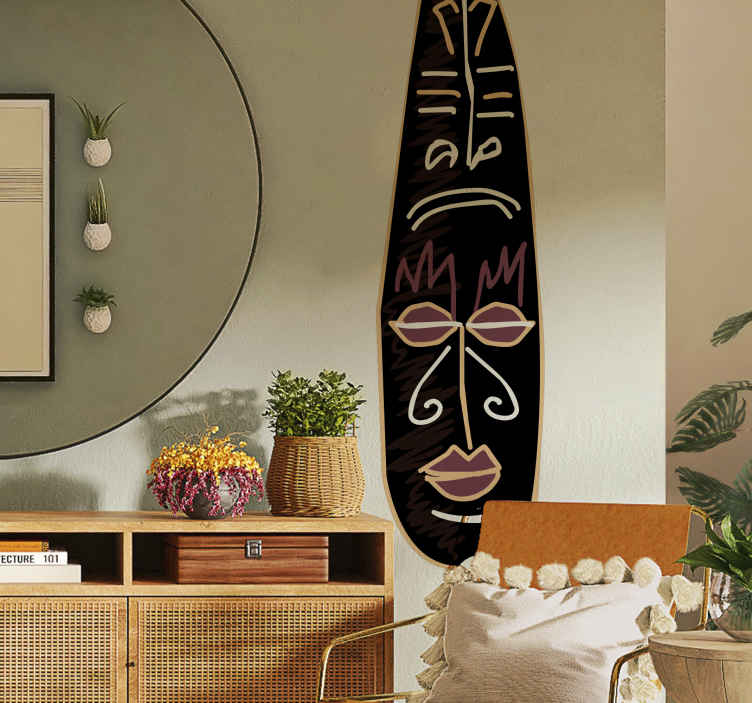 TenStickers. Totem Wall Sticker. Room Sticker - African cultural theme. Caricature of a totem.Ideal original decals for decorating your home.