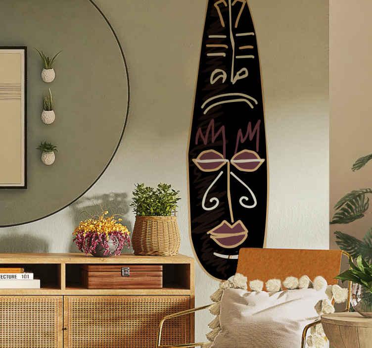"""TenStickers. Sticker Totem. Breng Afrika in uw huis met deze leuke en originele muursticker! Breng het thema """"Afrika"""" in uw huis met deze leuke wanddecoratie."""