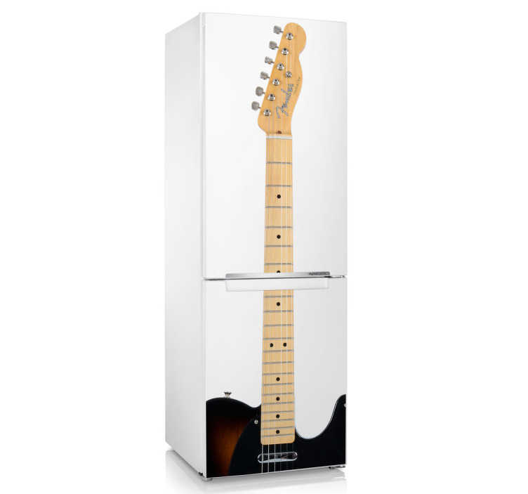 TenVinilo. Vinilo nevera guitarra eléctrica. Espectacular adhesivo musical para decorar tu frigorífico de inspiración rockera.