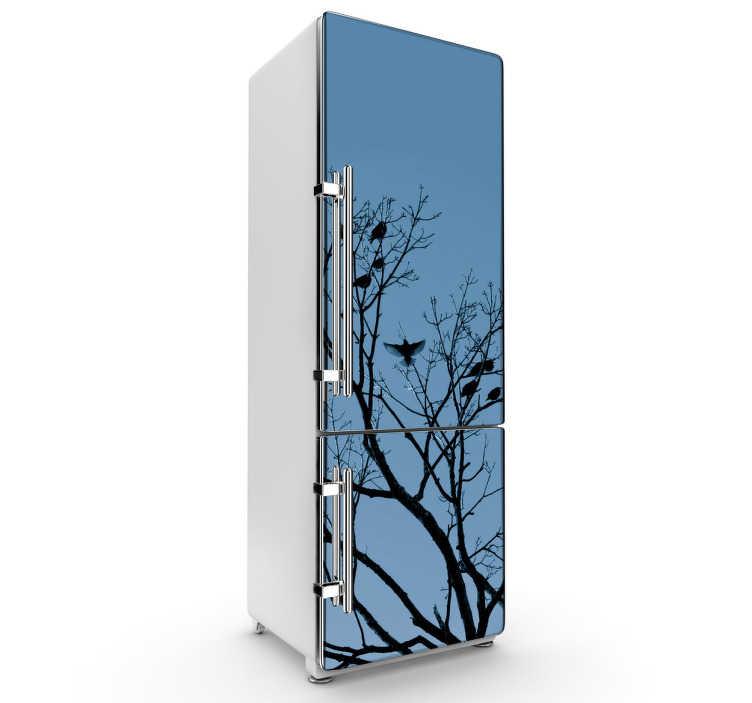 TenStickers. Naklejka na lodówkę drzewa. Dzięki naszej naklejce dekoracyjnej na lodówkę w ciekawy i szybki sposób zmienisz wystrój w kuchni.
