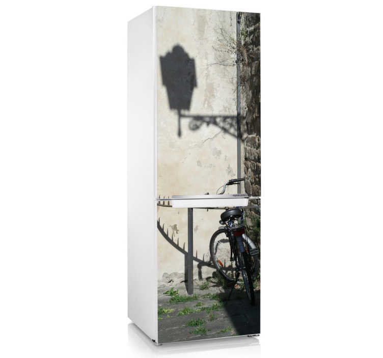 TenStickers. Bike Fridge Sticker. A lovely fridge decal illustrating a fantastic view with a bike against the wall. Brilliant kitchen sticker to personalise your fridge.