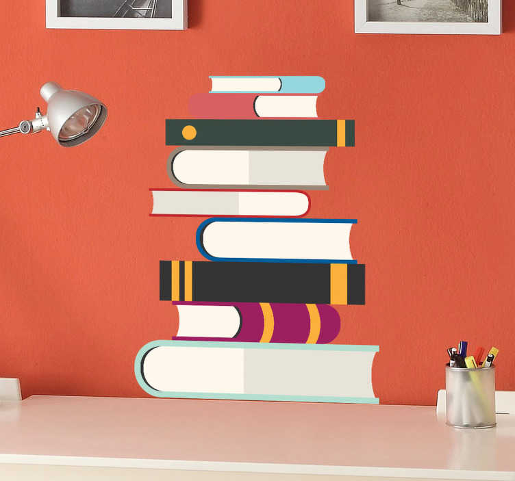 TenStickers. Pile of Books Kids Sticker. A great study room wall sticker illustrating a pile of books that will give your room a stylish appearance along with a fun atmosphere.