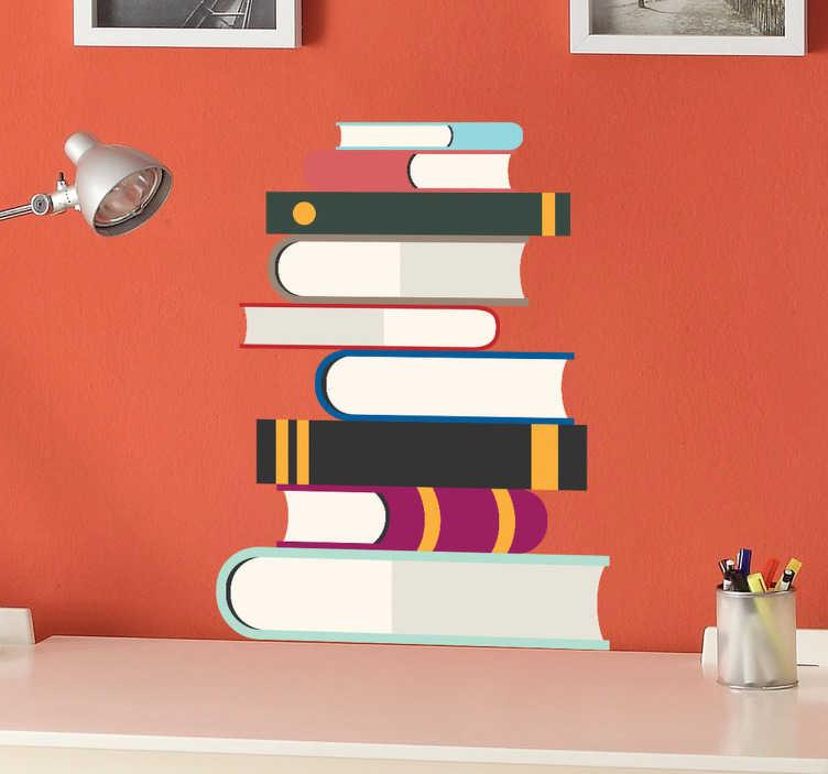 TenStickers. Naklejka stos książek. Naklejka na ścianę przedstawiająca stos kolorowych, różnej grubości książek. Dla wszystkich miłośników czytania.
