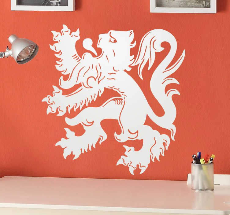 TenStickers. Sticker emblème lion belge. Stickers mural représentant le lion, emblème du drapeau belge.Personnalisez et adaptez le stickers à votre surface en sélectionnant les dimensions de votre choix.