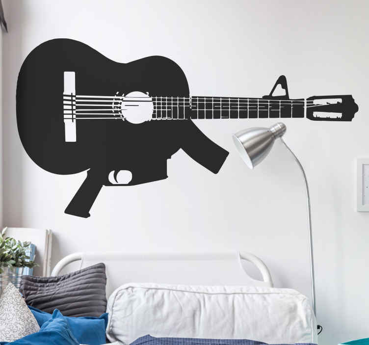TenStickers. Machine Gun Guitar Wall Sticker. An original and unique illustration of a machine gun guitar from our collection of guitar wall art stickers to give your home a new look!