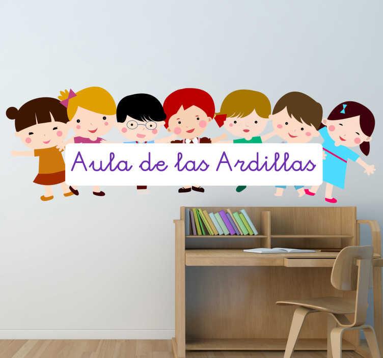 TenVinilo. Vinil personalizable niños aula. Personaliza este adhesivo con el nombre de tu clase y decora tu escuela de una forma amistosa, agradable y que a todo el mundo le gustará.