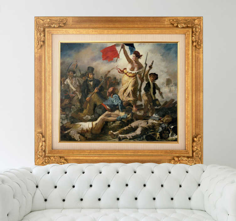 TenStickers. Naklejka obrazu Delacroix - wolność. naklejka jako obraz Delacroix Liberty leading the people czyli wolność prowadząca ludzi. Wspaniały, podniosły obraz, pokazujący ludzi walczących o wolność i zwobodę.
