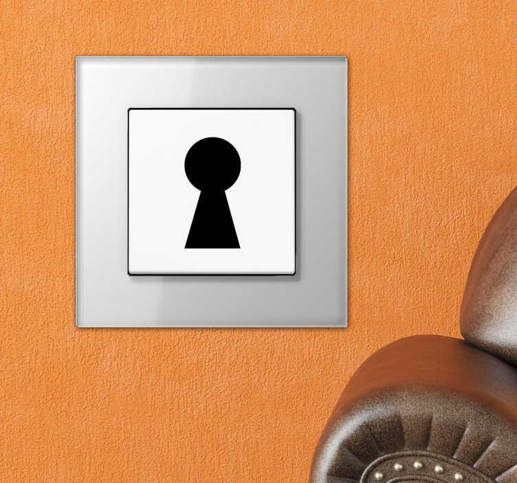 TenStickers. Sticker lichtschakelaar sleutelgat. Een leuke decoratie sticker met hierop een sleutelgat afgebeeld voor de decoratie van de lichtschakelaars in je woning.