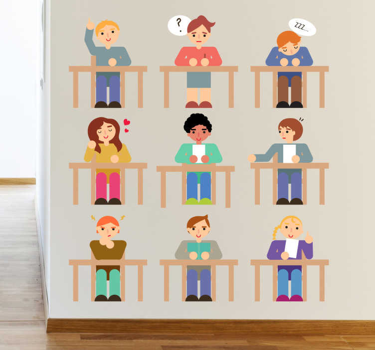 TenStickers. Naklejka uczniowie na zajęciach. Kolekcja składająca się z dziewięciu naklejek dekoracyjnych przedstawiająca uczniów siedzących na ławkach w szkole. Oryginalny pomysł na ozdobę pokoju dziecięcego.