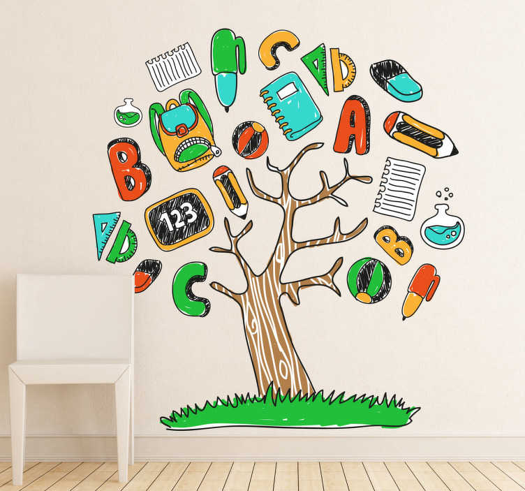 TenStickers. 학교를위한 교육용 나무 벽 스티커. 교실 벽 스티커 - 연필, 펜, 고무, 메모장 등 많은 다른 학용품과 나무의 좋은 그림 교육 재미를 확인하십시오!