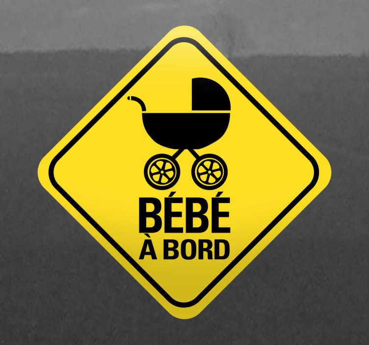 Sticker bébé à bord poussette losange