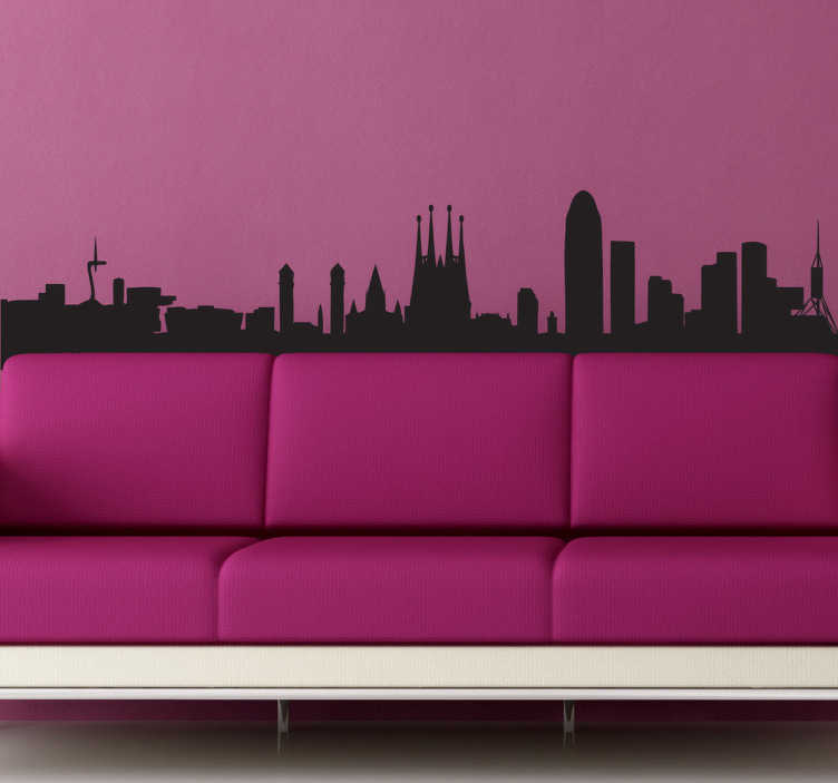 TenStickers. Barcelona Skyline View Wall Sticker. Wall Stickers - Silhouette design of the city of Barcelona. Cultural spanish city. Available in a variety of colours and sizes.