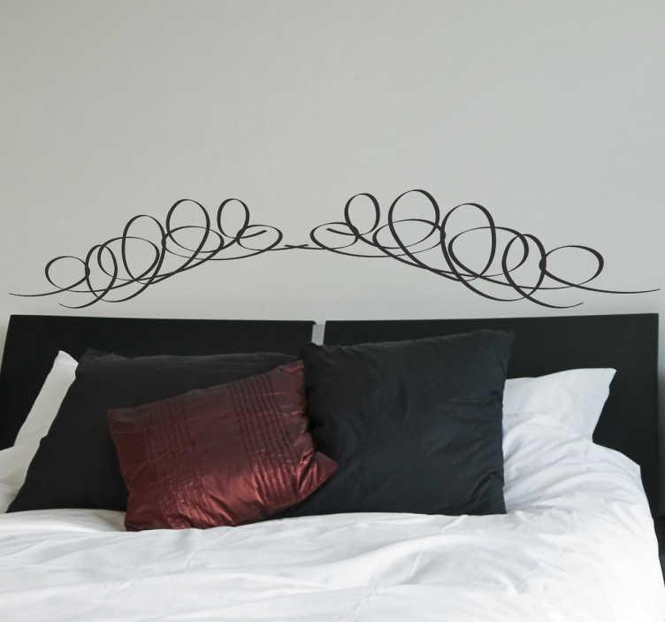 TenStickers. Sticker tête de lit symétrique. Stickers décoratif idéal pour décorer élégamment la tête du lit dans votre chambre. Traits arrondis entrelacés.Sélectionnez les dimensions et la couleur de votre choix.Idée déco originale, simple et élégant pour votre chambre.