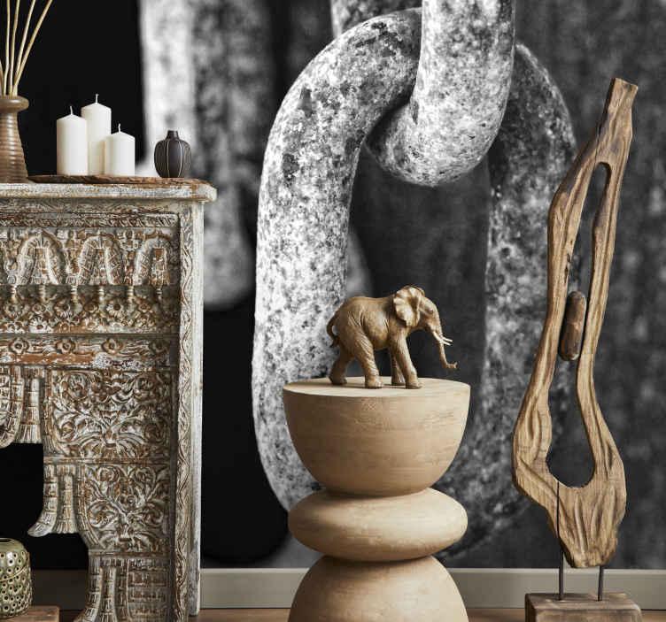 TenVinilo. Vinilo decorativo cadenas. Fotomural de autor con la imagen de unas cadenas. Adhesivo con profundidad y simbolismo que complementará de manera original la decoración de tu salón.