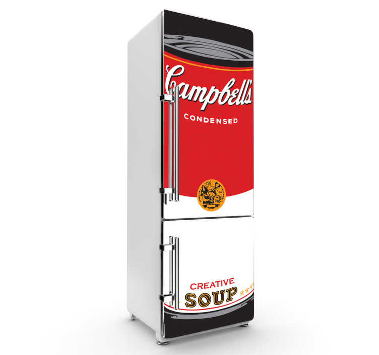 TenStickers. Sticker decorativo frigo Campbells. Adesivo decorativo raffigurante una famosa serigrafia di Andy Warhol. Rendi unico il tuo frigorifero.