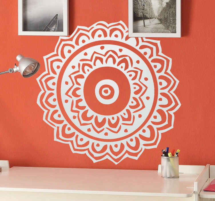 TenStickers. Indian Floral Mandala Wall Sticker. Decals - Floral mandala illustration. Available in various sizes and in 50 colours. Wall stickers.