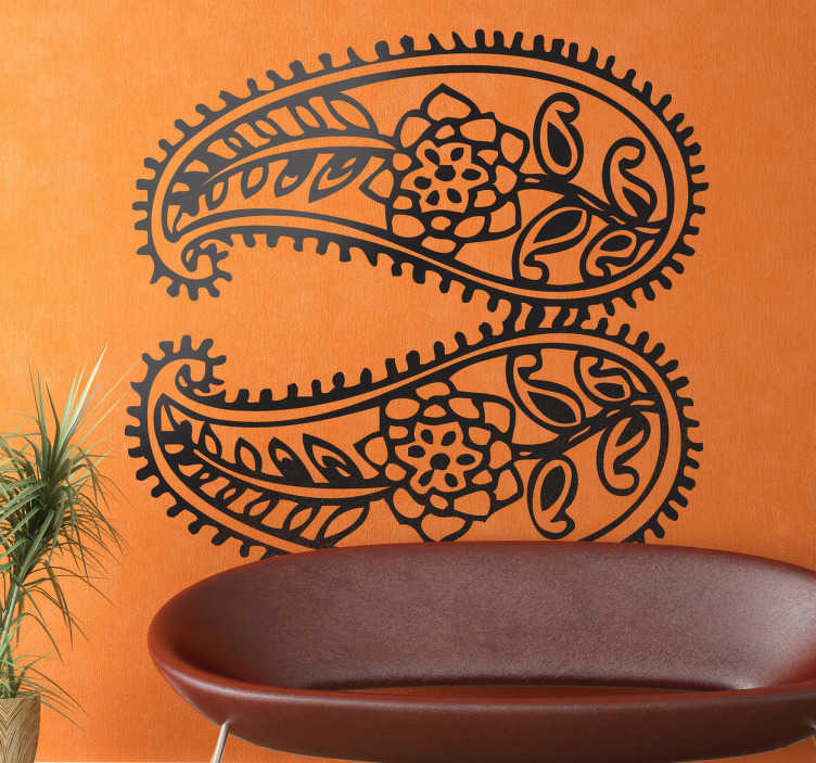 TenStickers. Decorative Indian Motifs Wall Sticker. Decals - Asian floral illustration. Distinctive feature. Available in various sizes and in 50 colours. Wall stickers.