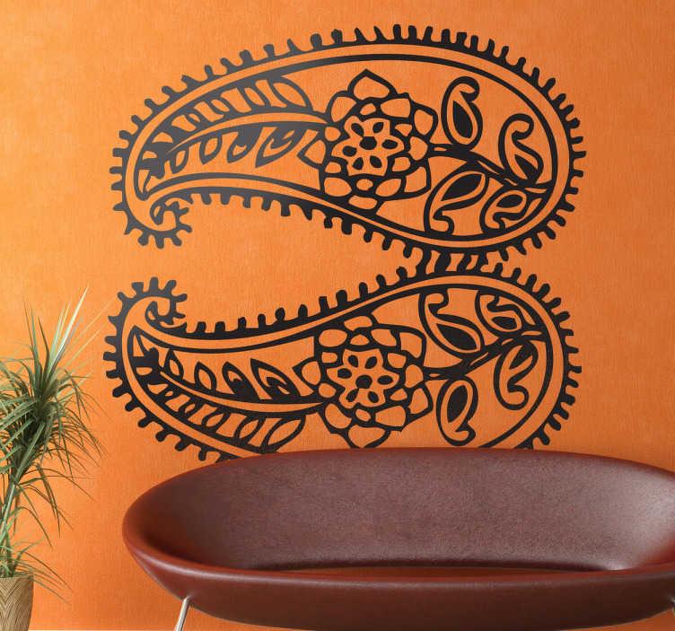 TenStickers. Sticker motifs indiens. Un dessin symétrique élégant d'inspiration orientale pour personnaliser les murs de votre maison et apporter une touche indienne à votre décoration.