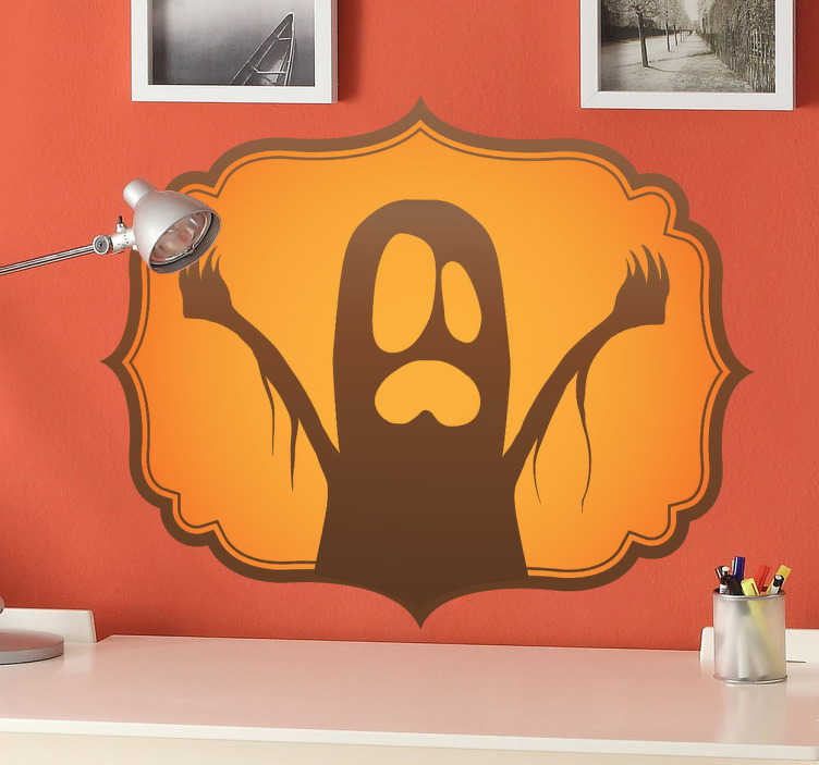 TenStickers. Wandtattoo Geist Etikette. Dekorieren Sie Ihr Zuhause zu Halloween mit dieser gruseligen Geist-Etikette als Wandtattoo! Der Aufkleber ist leicht anzubringen