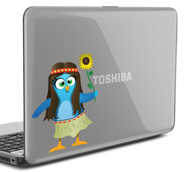 TenStickers. Twitter Hippie Bird Laptop Sticker. Social Media - Playful and fun design of a blue bird dressed like a hippie holding a sunflower. Idea feature for personalising your laptop or tablet
