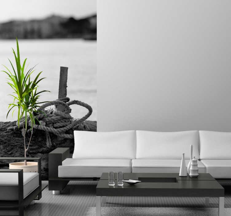 TENSTICKERS. 海洋港写真壁画. 写真壁画-海洋の黒と白の写真芸術。シンプルで独創的な写真で自宅やビジネスをスタイリング