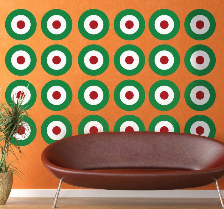 """TenStickers. Naklejka na ścianę tarcze. Kolekcja składająca się z 24 naklejek na ścianę. Podczas dokonywania zakupu w sekcji """"obserwacje dotyczące zakupu"""" wybierz trzy kolory."""