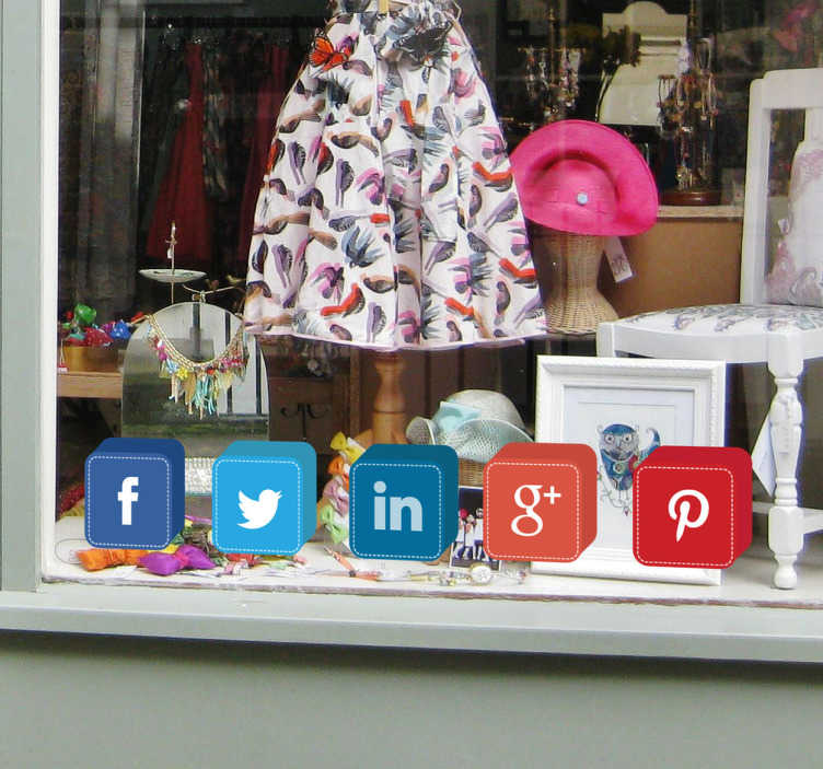 TenStickers. Social Media Cubes Stickers. Social media stickers for shop windows perfect for showing your customers that your business is online as well as in store featuring Facebook, Twitter, LinkedIn, Google+ and Pinterest!