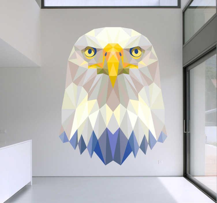 TenStickers. Vinil Decorativo Águia Retrato Geometrico. Vinil decorativo ilustrando um retrato de águia com traços geometricos, resultando um vinil incrivel para personalizar a sua decoração.