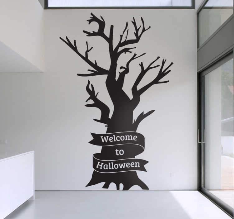 TenStickers. Welcome to Halloween Wall Sticker. Halloween - Silhouette illustration of a dark leafless tree. Ideal for decorating your home for Halloween. Available in various sizes.