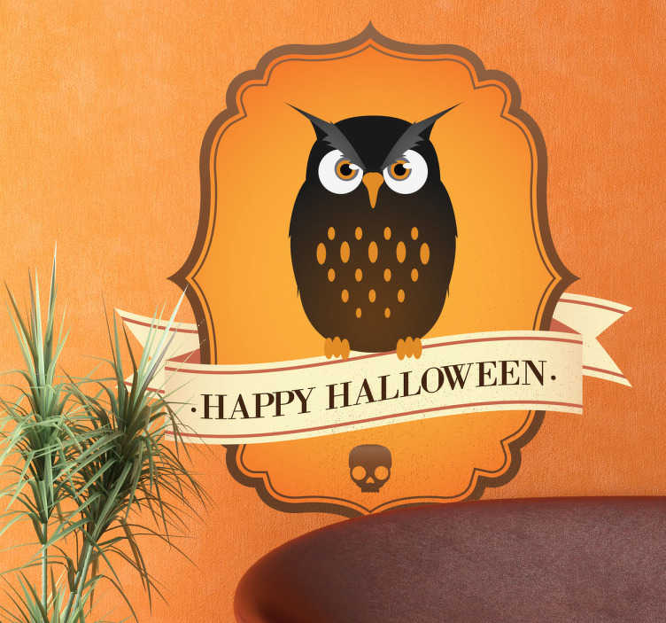 TenStickers. Owl Halloween Sign Wall Sticker. This Halloween decal is one of our exclusive design from our collection of owl wall stickers! Are you ready for Halloween?