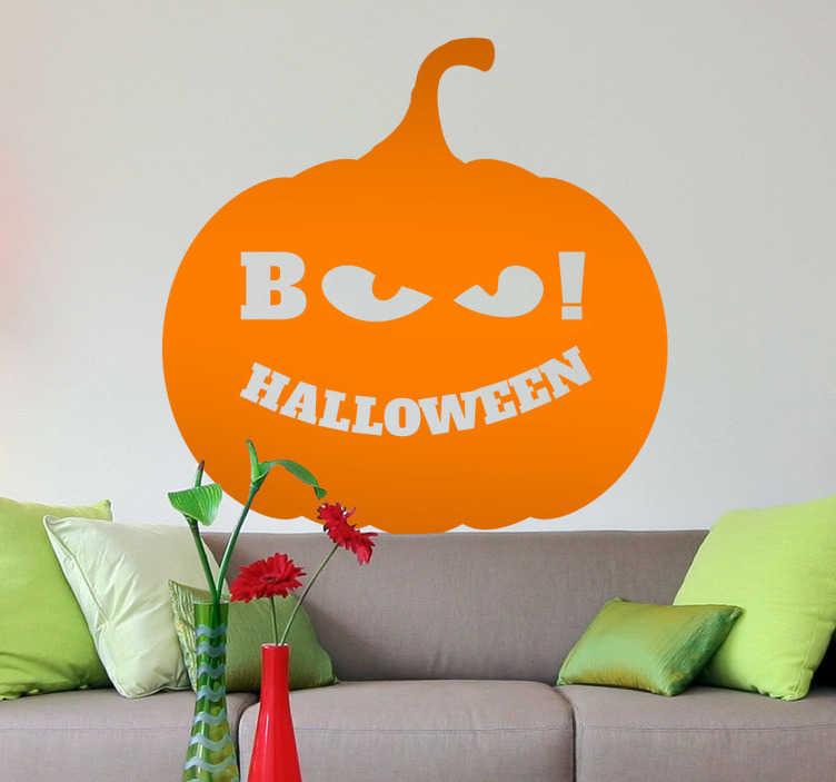 TenStickers. Sticker decorativo zucca boo!. Adesivo decorativo che raffigura una versione abbastanza inquietante della celebre zucca di Halloween. Una decorazione ideale per celebrare la festa del brivido.