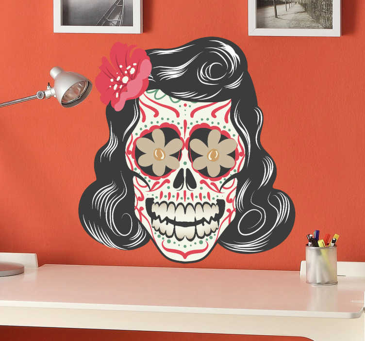 sticker t te de mort mexicaine tattoo tenstickers. Black Bedroom Furniture Sets. Home Design Ideas