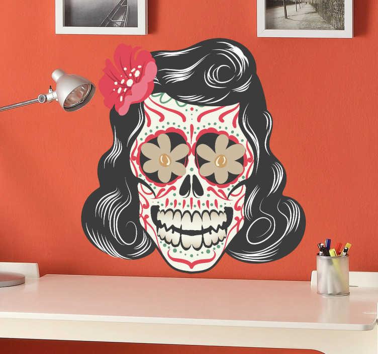TENSTICKERS. 死んだ装飾デカールのメキシコの日. メキシコの死んだお祭りの日に触発されたこのステッカーであなたの家、車、電子レンジを飾ってください。 freepikデザイン。花のパターンと明るい色の女性の頭蓋骨のこの素晴らしいデカールであなたの家を幸せにしてください。