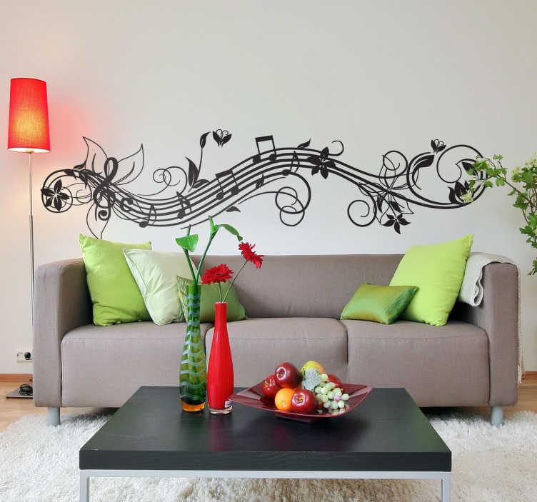 TenStickers. Sticker muzieknoten bloemen golvend. Deze muursticker omtrent een muzieklijn in golvende vorm. Met een G-sleutel en diverse attributen is dit ideaal ter decoratie van uw woning!