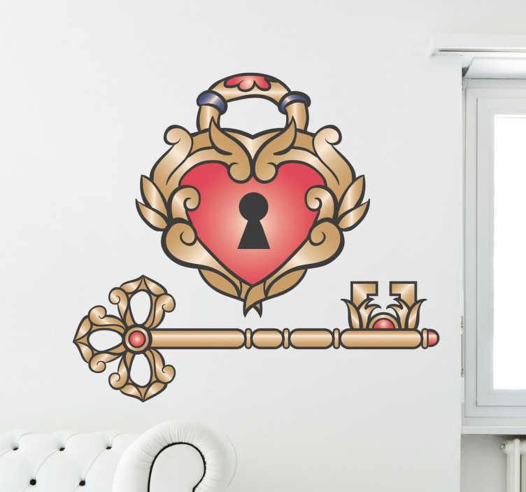 TenStickers. Naklejka dekoracyjna miłosna kłódka. Romantyczna naklejka dekoracyjna, która przedstawia kłódkę w kształcie serca i pasujący do niej klucz.