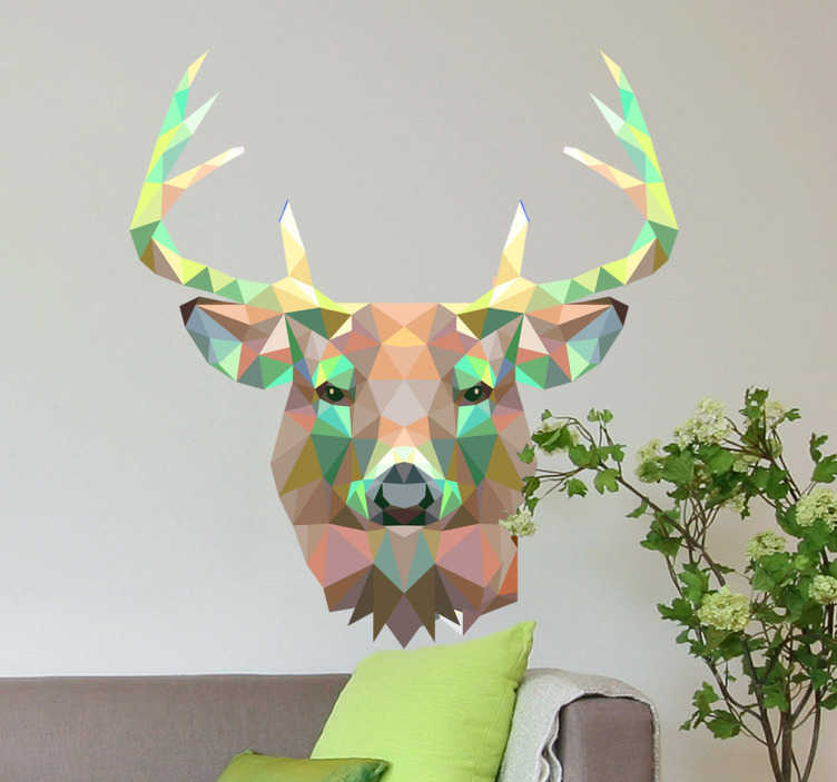 TenStickers. Geometric Deer Head Decal. Decals - Striking geometric illustration of a deer. Distinctive colourful feature. Ideal for all ages.