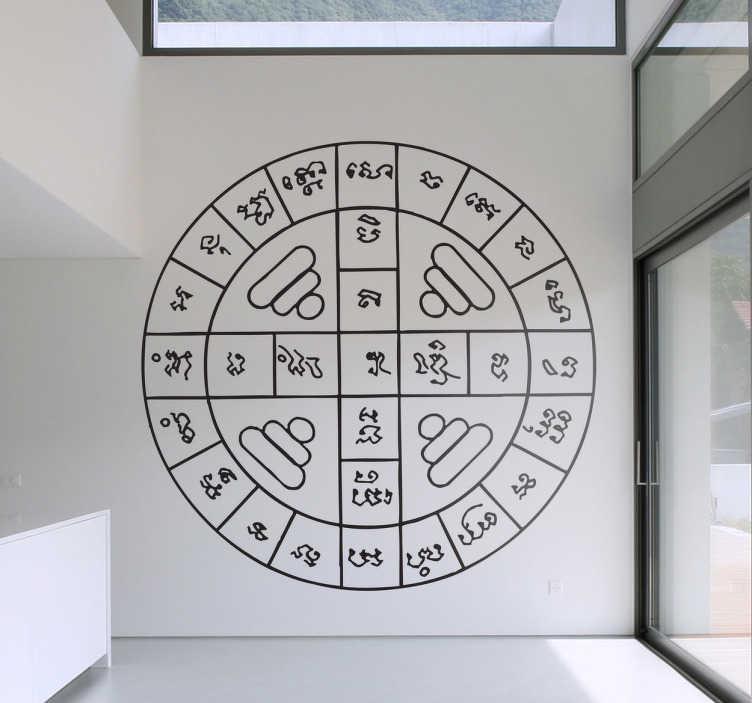 TenStickers. Naklejka na ścianę azjatycki, geometryczny wzór. Naklejka przedstawia inspirowany kulturą azjatycką geometryczny wzór! Dodaj egzotyczny i pełen przygód dotyk do Twojego domu.