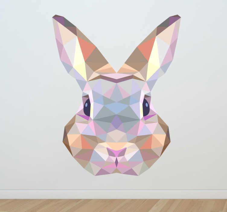TENSTICKERS. 幾何学的なウサギのデカール. ウサギの顔の幾何学的な壁のステッカー。あなたの寝室やリビングルームを飾るためにウサギの壁のステッカーのコレクションから素晴らしいデザインやあなたの子供はそれを楽しんで、あなたの子供の寝室や保育園の壁に適用する!