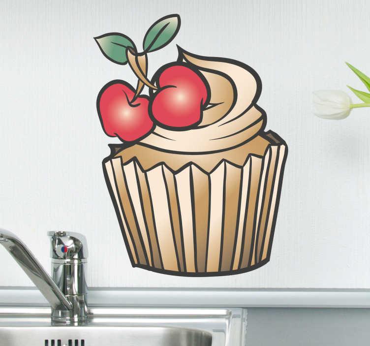TenStickers. Cupcake s třešňovým obtiskem. Tento nástěnný štítek s nápojem byl navržen pro skutečné milovníky cupcake venku! Tento super roztomilý design košíčku s polevou a třešně bude vypadat skvěle ve vaší kuchyni.