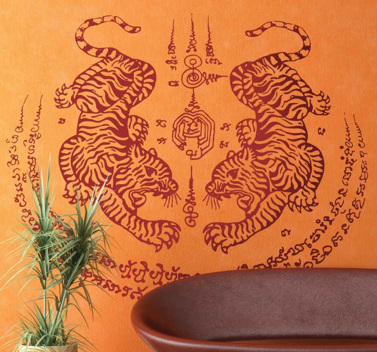 TenStickers. Muursticker symmetrische tijgers. Deze muursticker omtrent symmetrische afbeelding van twee tijgers in Aziatische stijl. Ideaal voor een Oosterse sfeer binnenshuis.