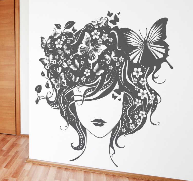 TenStickers. Sticker artistiek gezicht vlinders. Een leuke muursticker van een tekening van een dame met zwarte lippen, geen ogen en haren bestaande uit vlindertjes, bloemen en planten.